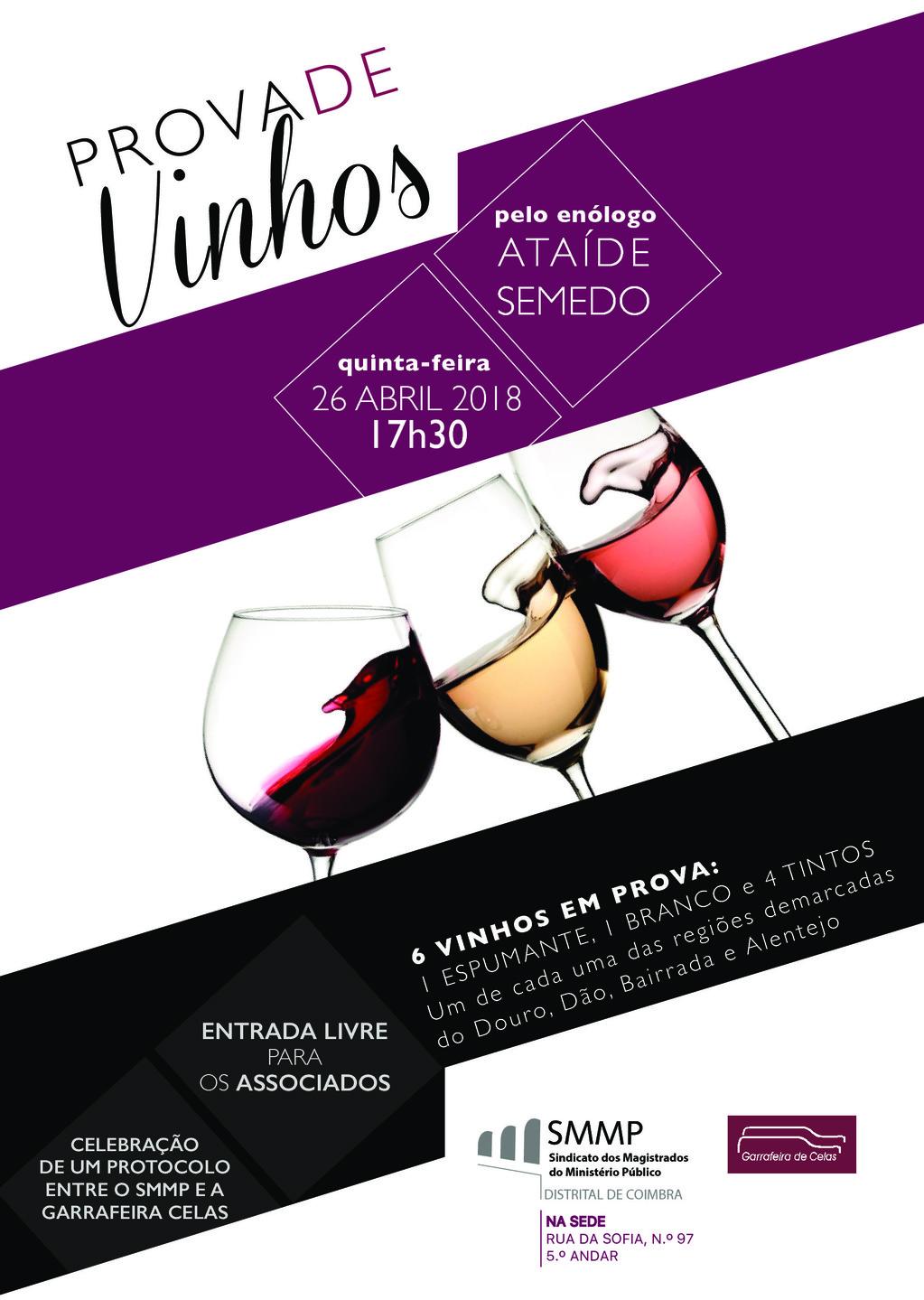 Prova de vinhos pelo enólogo Ataíde Semedo na sede do SMMP em Coimbra